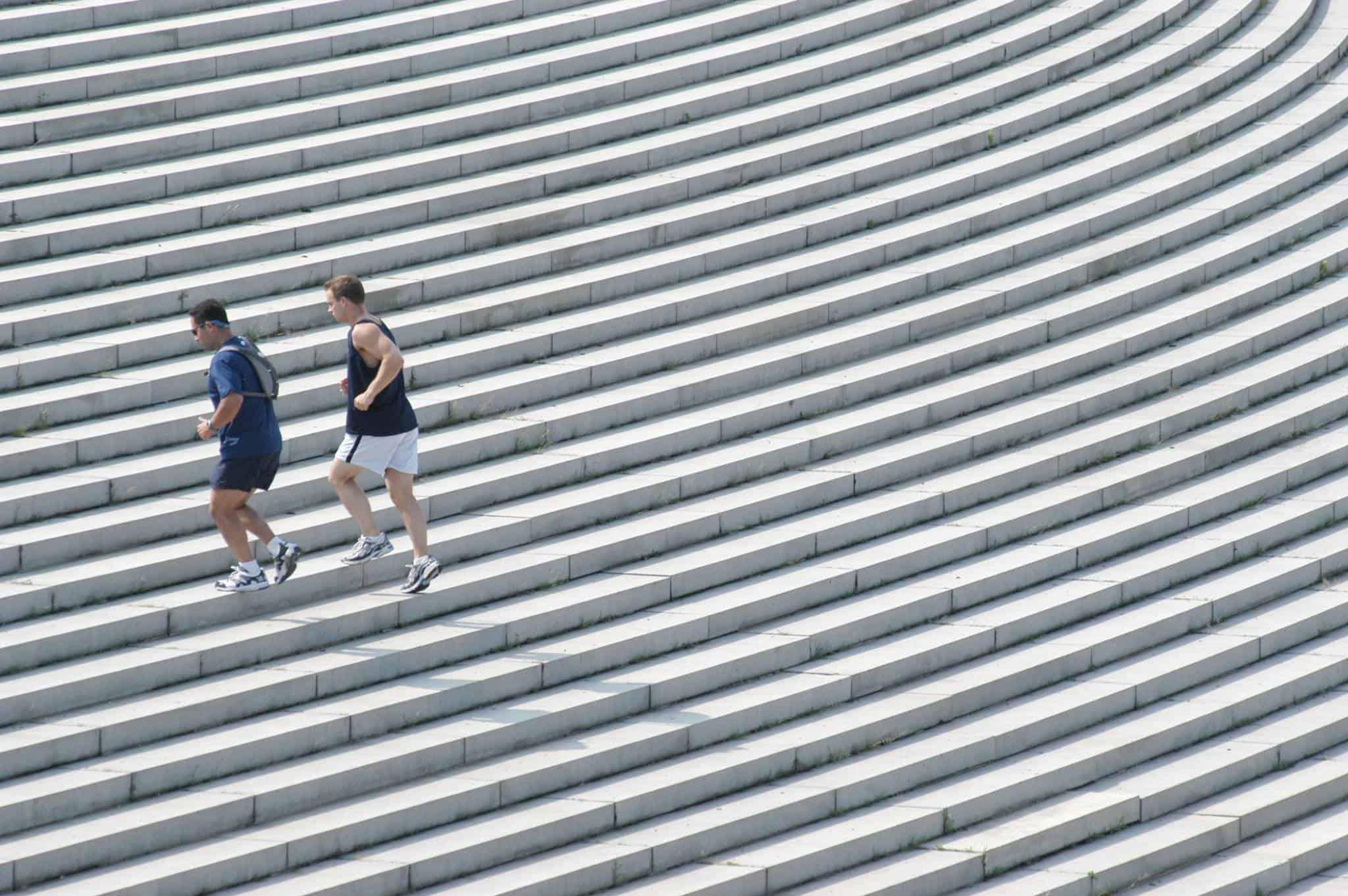 runners, stairs